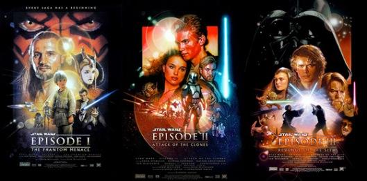 Cartazes dos três filmes das prequelas de 1999 a 2005